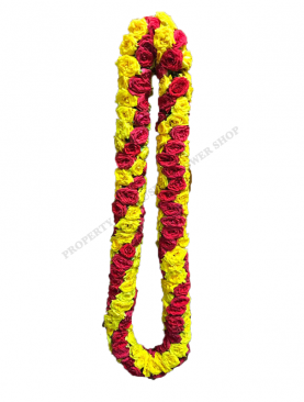 India Rose Garland with Fully looped Spiral Designed Red and Yellow Rose with no Kunjam