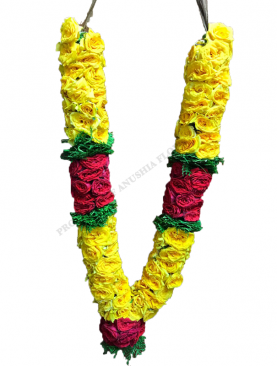 Indian Yellow Roses Garland with fern leaves and India Red Rose Karanai with India Red Rose Kunjam