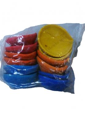 Set Of Colourful Small Oil Lamps (Agal Vilakku)