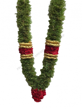 Arugampul Garland With Gold Ribbon With Thailand Rose Karanai And Rose Kunjam
