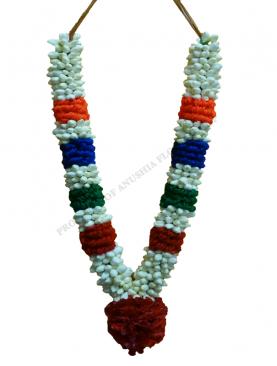 Jasmine Garlands/ ஜாஸ்மின் மாலை with 4 coloured Thread Karanai with Spacing and Rose Kunjam
