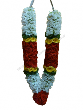 Tube Rose Sampangi  Garland with Fern leaves and Bold Bodered India Rose Karanai with Rose Kunjam